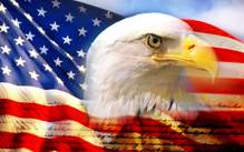 American flag with image of eagle head