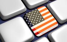 Computer keyboard keys with American flag